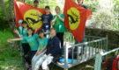 Скифский флаг на водопадах Варзоба